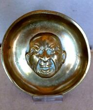 Heavy Brass Dish with Registry Marks Comical Crying Man Baby England C.1850's