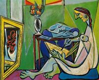 Pablo Picasso Painter and Model HandPainted Oil Painting Repro Canvas Wall Art