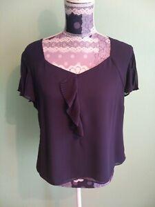 Jacques Vert   Cap Sleeve Top size 14   Blouse  Short sleeve V Neck Criss-Cross