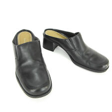 Naturalizer Womens Clogs 7.5 Black Leather Square Toe Career Mules Heels 875NA40