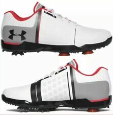 UNDER ARMOUR UA Spieth One Jr BOYS Golf Shoes White Black Red 1301154-108 $75