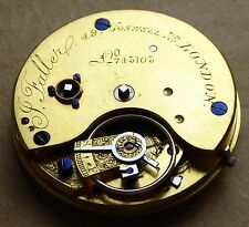 Slim fusee pocket watch movement, J.Faller 49 Goswell Rd, London, running well.
