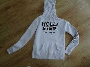 HOLLISTER ladies beige hooded sweatshirt jumper SIZE XS UK 6 - 8 AUTHENTIC