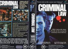 CRIMINAL LAW - Oldman & Bacon  -VHS -PAL -NEW -Never played!-Original Oz release