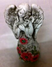 Stone Garden Peace Angel with pink flowers and bee