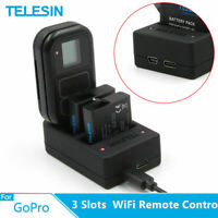 TELESIN 3 Slots Battery & Smart WiFi Remote Control Charger For Gopro Hero 5 6 7