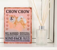 New Chow Chow Dog Breed Sign Shabby Chic Cute Retro Gift Vintage Hanging Plaque