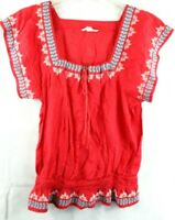 American Eagle Outfitters Red Embroidered Boho Peasant Top Size S/P