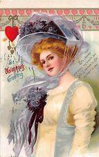 B95/ Valentine's Day Love Holiday Postcard 1911 Augusta Ga Beautiful Woman Hat24