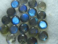 15 Pcs Natural Blue Fire Labradorite 8X8 mm Round Faceted Cut Loose Gemstone