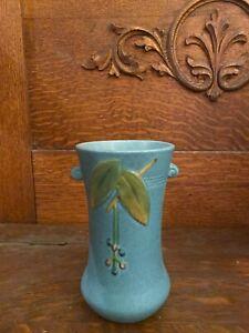 1930s CORNISH Vintage Signed WELLER ART POTTERY VASE - Blue & Handled