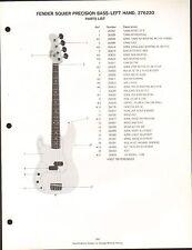 VINTAGE AD SHEET #3589 - FENDER GUITAR PARTS LIST - SQUIER PRECISION BASS-LEFT