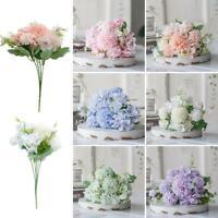 5 Heads Artificial Flowers Fake Peony Silk Hydrangea Bridal Wedding Deco New