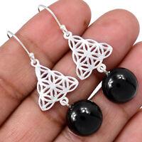 Black Onyx - Brazil 925 Sterling Silver Earrings Jewelry AE100340 122R