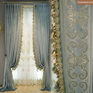 Neo-classical European blue embroidered velvet thick cloth curtain panel C315
