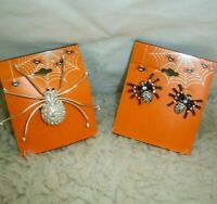 Halloween Spiders Rhinestone Pin Brooch Creepy Black Pierced Earrings Cosplay