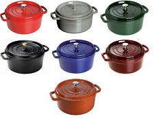 Staub Cast Iron 7-qt Round Cocotte Cooking Pot - 7 COLORS CHOICE NEW