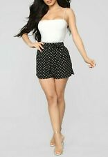 High Rise Tie Waist Woven Casual Sexy Polka Dot White Black Mini Shorts Medium M