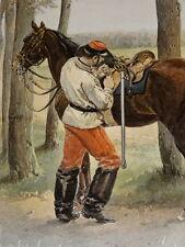 GRANDE Gravure UNIFORME Edouard DETAILLE CUIRASSIER PETITE TENUE CAVALERIE 1885