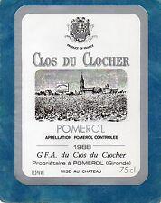 POMEROL ETIQUETTE CLOS DU CLOCHER 1988 75 CL  RARE §13/07§