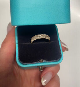 Tiffany Metro Five-row Ring in Rose Gold with Diamonds Size 7