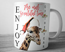 GIRAFFE Coffee Mug Enjoy CHRISTMAS Mug 11 oz Cute Giraffe Christmas Gift Idea