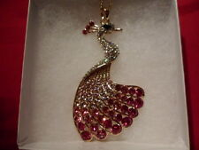"""Peacock Pendant w/Pink, White & Black Austrian Crystalsw/Chain (30""""), RG Overlay"""