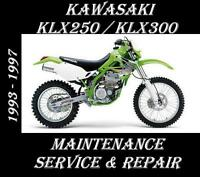 Kawasaki KLX250 KLX300 KLX 250 300 Maintenance Service Repair Rebuild Manual