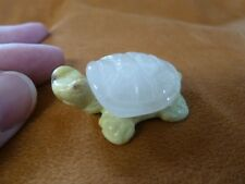 (Y-Tur-Lat-556) White Yellow 2 piece Tortoise Turtle carving Figurine gemstone
