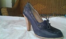 ladies new dark blue leather shoes size 4 by Next / Half price