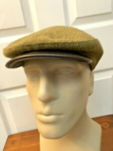 Vtg ORVIS WOOL Check Cabbie Newsboy Flat Cap Hat LEATHER Brim Fitted L/XL  USA