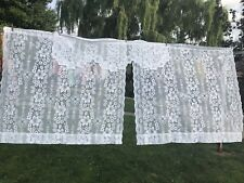 Pair Of White Jcpenney Lace Curtain Panels & Valance