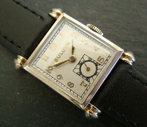 Vintage Art Deco 1948 10ct RGP BULOVA 'CHIEF' Watch; Gorgeous Lugs; Serviced