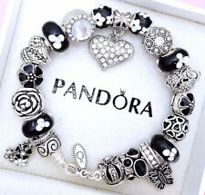 Authentic Pandora Silver Charm Bracelet With Crystal Love Heart European Charms.
