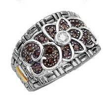 Philip Andre 18k Gold & Sterling Silver Diamond & Smokey Designer Ring, size 7