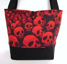 RED AND BLACK SKULLS  HANDMADE HANDBAG PURSE TOTE POCKETBOOK BAG