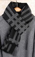 100% Silk brushed nap Scarf men Women Shawl Wrap black gray Plaid Check QS72-11