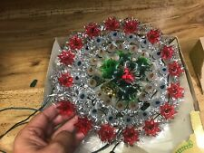 Vtg 48 Lite 3 way flasher Noel Tinsel Light Wreath Christmas Tree Topper 9""