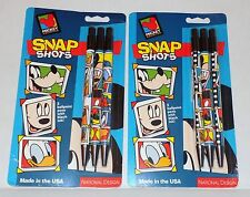 NIP 6 Vintage Mickey Unlimited Snap Shots Goofy Donald Ink Pens - Display Only