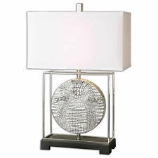 """Taratoare Reptile Pattern Square Table Lamp Silver Finish 29""""H Uttermost 26181-1"""