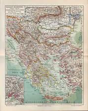 Landkarte map 1905: Balkan-Halbinsel. Konstantinopel Bosporus Türkei Bulgarien