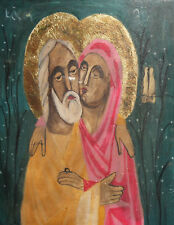 Orthodox Tempera On Wood Hand Painted Icon Saints Joachim and Anne