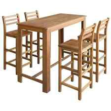 vidaXL Solid Acacia Wood Bar Table and Chair Set 5 Piece Dining Furniture