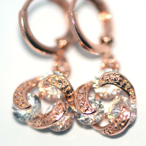 Twisted Rose Gold Filled Crystal Dangle Drop Earrings Earings for Womens Female