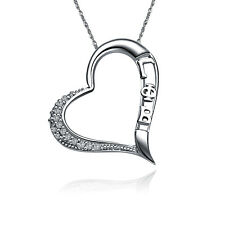 "Gamma Phi Beta Embedded Heart Silver Pendant with 18"" Chain Necklace (GPB-P004)"