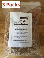 3 x Packs Jute Nesting Material 100g Nest / Fibre Aviary Birds,Canaries,Finches.
