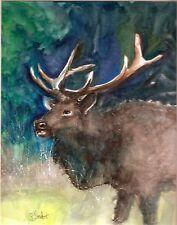 Bull Elk Watercolor Forest Trees Animal Portrait 8x10 Painting Penny Lee StewArt