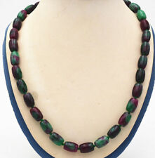 "Natural 8x12mm green Ruby Emerald Rice-shaped Round Beads necklace 18"" beautiful"