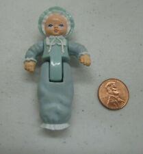PLAYSKOOL Dollhouse BLONDE BABY GIRL or BOY in BLUE SLEEPER Nursery Infant Rare