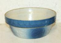 "ANTIQUE SALT GLAZE STONEWARE APRICOT BOWL 9"" BLUE & WHITE"